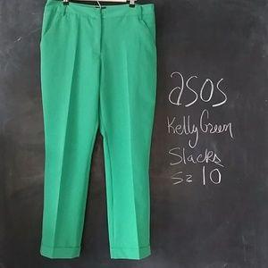 Asos Kelly Green Slacks Pants Sz 10